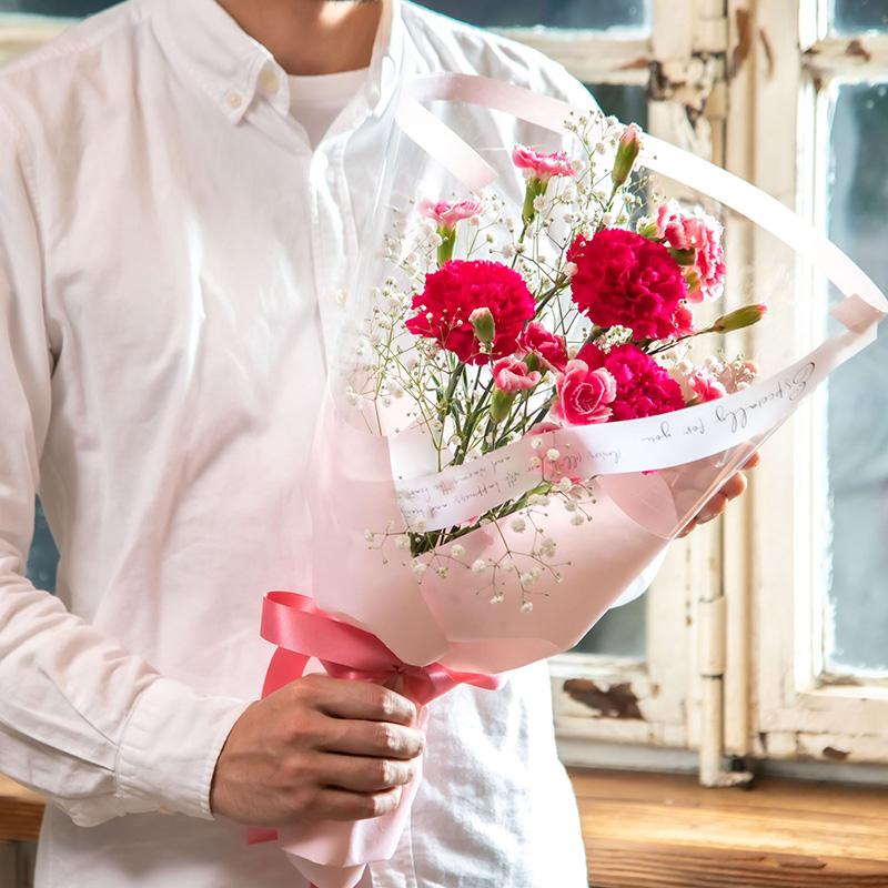 【送料込】花束「ロゼシャンパーニュ」・ありがとうカステーラセット【同梱・代引不可】